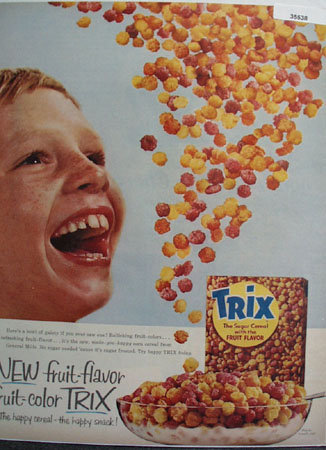 General Mills Fruit Flavor Trix Cereal 1956 Ad