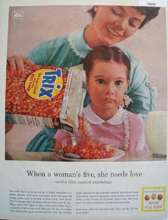 Trix Fruit Flavor Cereal Made for Kids 1958 Ad