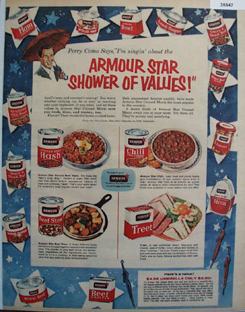 Armour Star Perry Como 1956 Ad