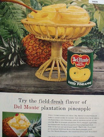 Del Monte Brand Sliced Pineapple 1957 Ad