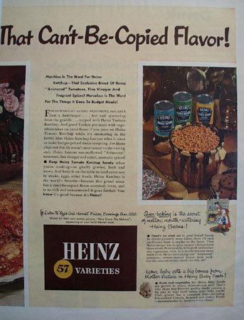 Heinz 57 Varieties Tomato Ketchup 1952 Ad