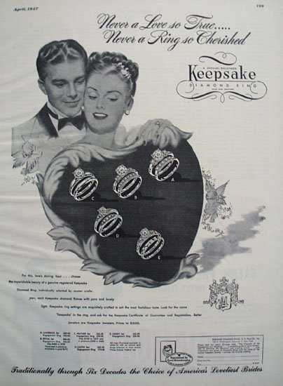 Keepsake Diamond Couple Behind Heart Ad 1947