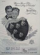 Keepsake Diamond Couple Behind Heart Ad 1947