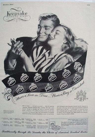 Keepsake Diamond Girl In Stripe Blouse Ad 1947