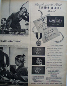 Keepsake Wins 1950 Fashion Academy Award Ad 1959