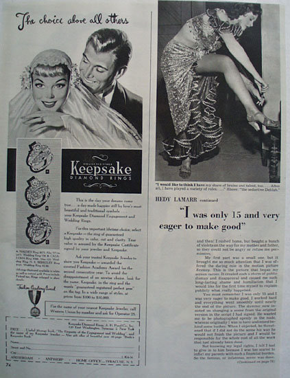 Keepsake Diamond  Choice Above All Others Ad 1951