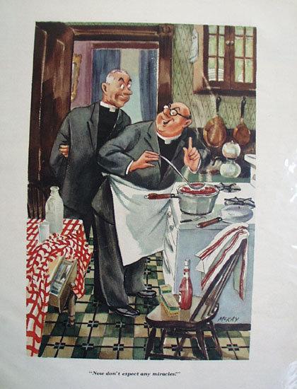 Priests In Kitchen Cartoon 1953