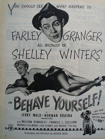Behave Yourself Movie Ad 1951