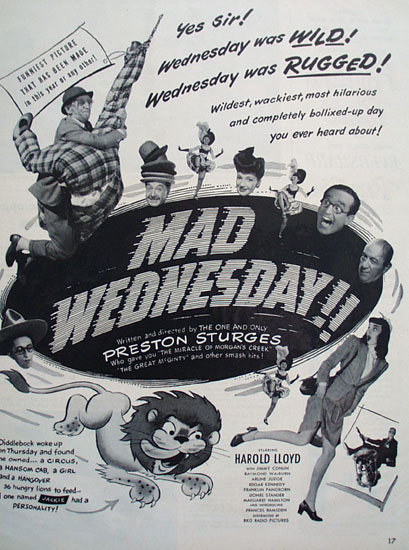 Mad Wednesday Movie Ad 1950