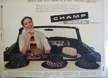 Champ Summer Hats 1956 Ad