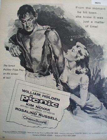 Movie William Holden In Picnic 1956 Ad