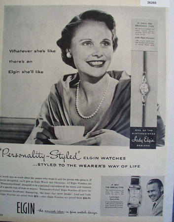 Elgin Personality Styled Watch 1956 Ad