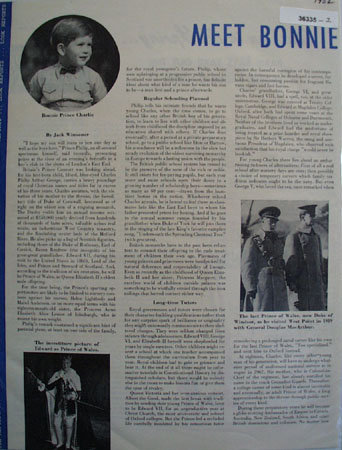Meet Bonnie Charlie Prince of Wales 1952 Article