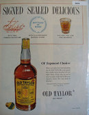 Old Taylor 100 Proof Whiskey 1950 Ad.