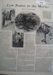 Cow Ponies In The Movies Article 1926