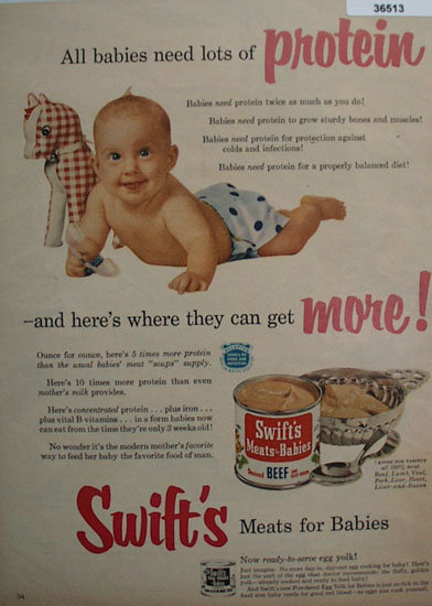 Swifts Meats For Babies 1953 ad