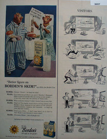 Bordens Fortified Skimmed Milk 1959 Ad