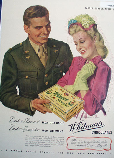 Whitmans Sampler Chocolates 1943 Ad