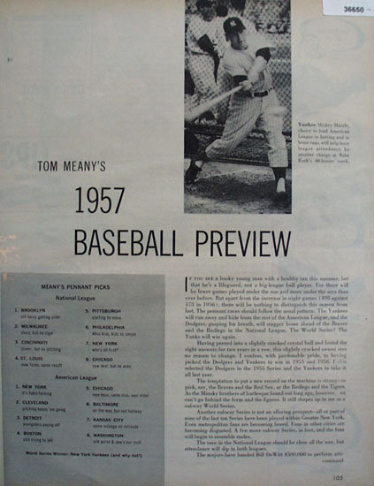 Tom Meanys 1957 Baseball Preview 1957 Article