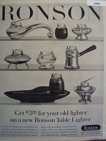 Ronson Lighters Trade In 1957 Ad