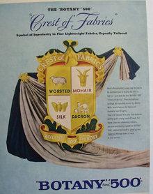 Botany 500 Crest Of Fabrics 1956 Ad