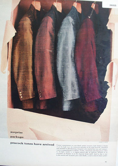 Dinner Jackets in Peacock Tones 1956 Ad.