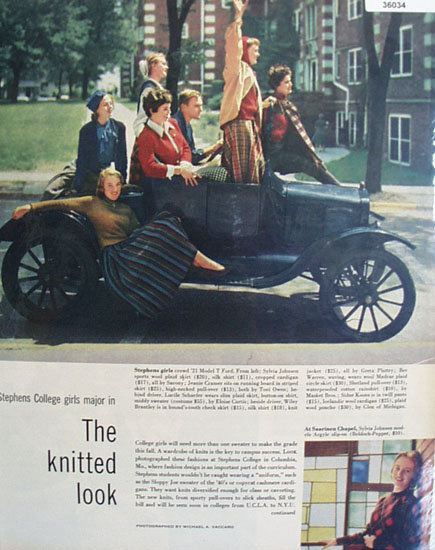 Knitted Clothes Stephens College Girls 1957 Ad