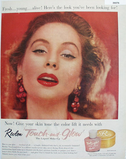 Revlon Touch and Glow Make Up 1957 Ad