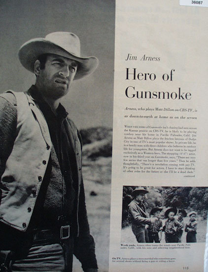 Jim Arness Hero Of Gunsmoke 1957 Article