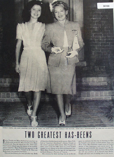 Shirley Temple And Mary Pickford 1943 Article