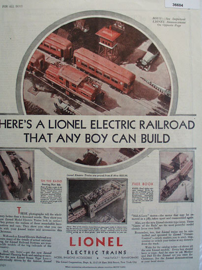 Lionel Model Electric Trains 1929 Ad