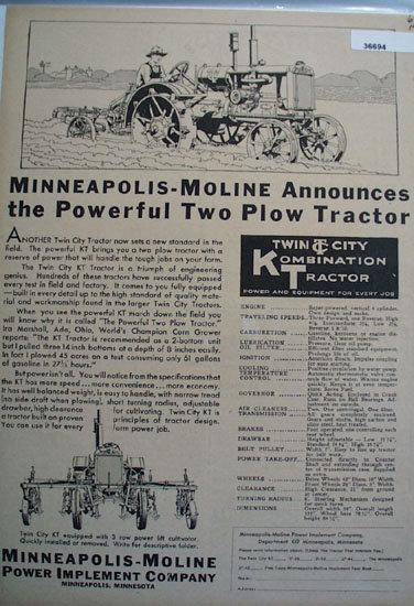 Minneapolis Moline Power Implement Co. 1930 Ad