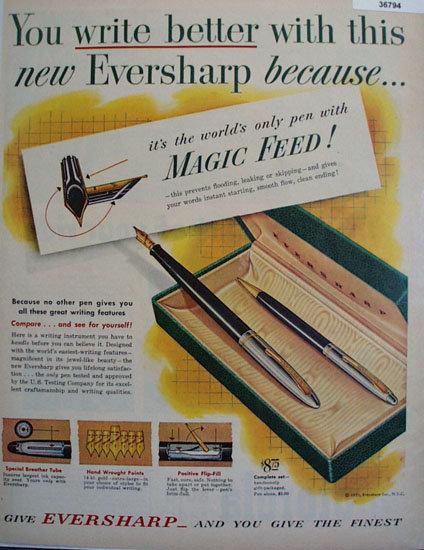 Eversharp Magic Feed Pen 1951 Ad