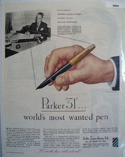 Parker 51 Pen Fernando De Mello Vianna 1948 Ad