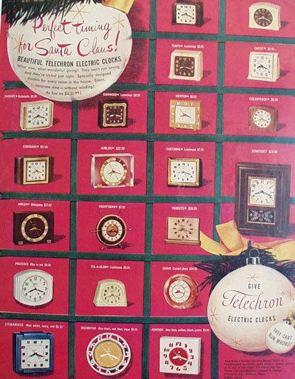 Telechron Electric Clocks 1950 ad