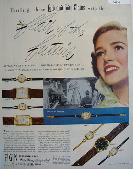 Elgin Lord And Lady Watches 1950 Ad