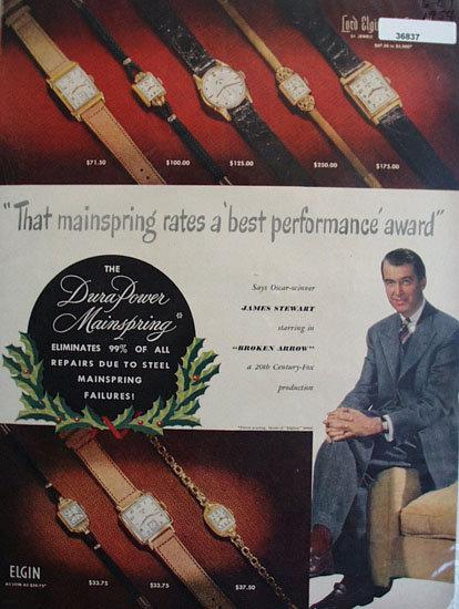 Elgin Watch James Stewart 1954 Ad.