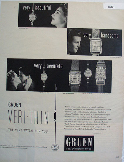 Gruen Veri Thin Watch 1949 Ad
