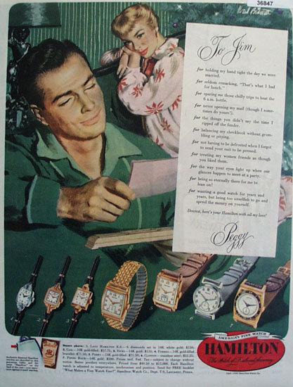 Hamilton Watch 1950 Ad