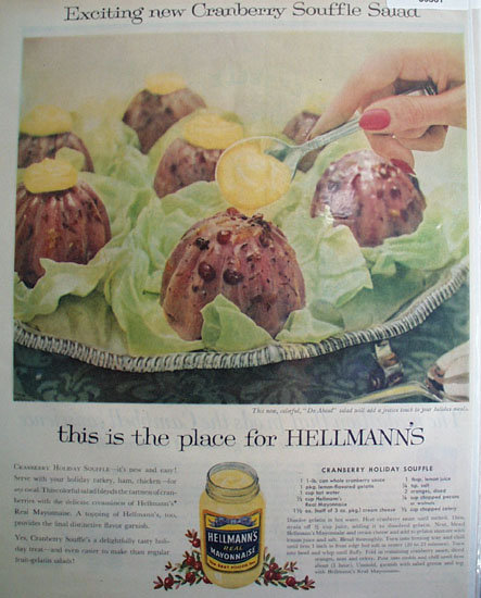 Hellmanns Mayonnaise Do Ahead Souffle 1957 Ad