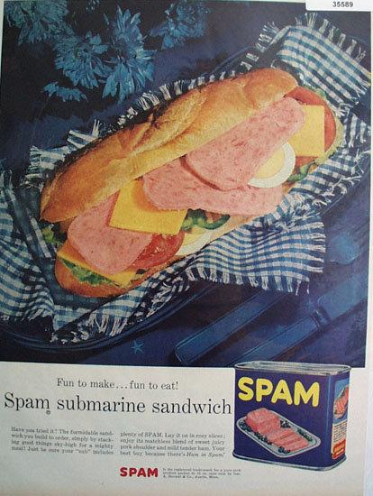 Spam Submarine Sandwich 1956 Ad