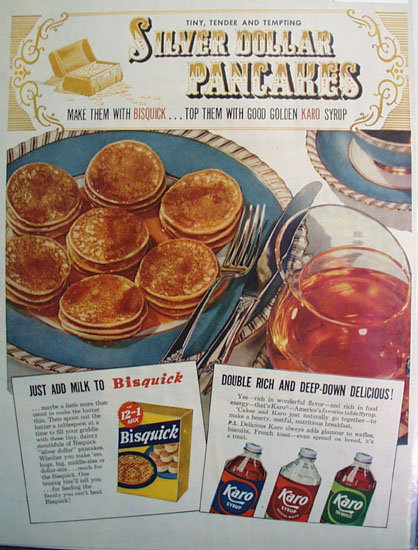 Karo Syrup And Bisquick 1952 Ad