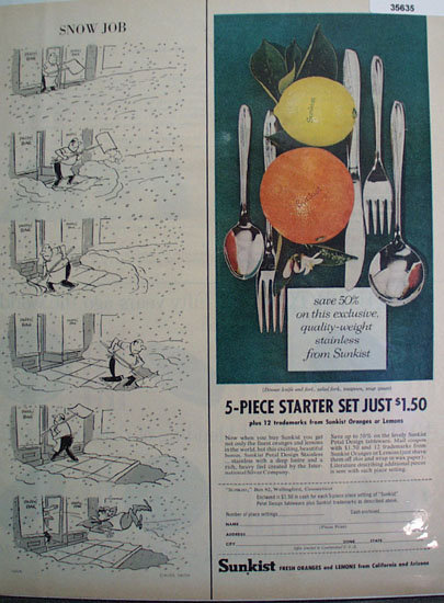 Sunkist Oranges and Lemons 1958 Ad
