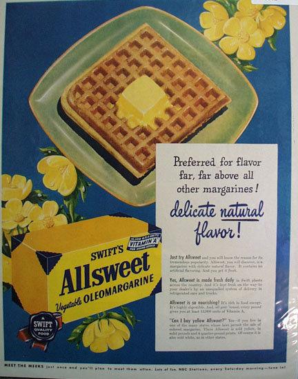 Swifts Allsweet Oleomargarine 1949 Ad