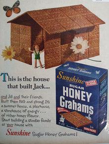 Sunshine Sugar Honey Grahams 1956 Ad