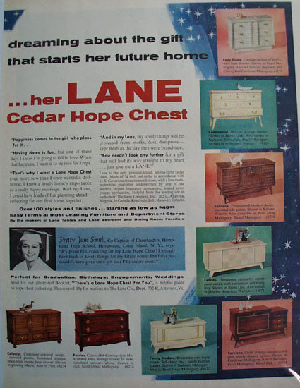 Lane Cedar Hope Chest June Smith 1957 Ad