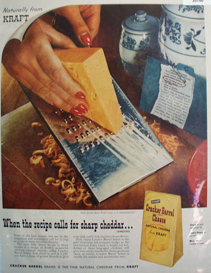 Kraft Cracker Barrel Cheese 1957 Ad