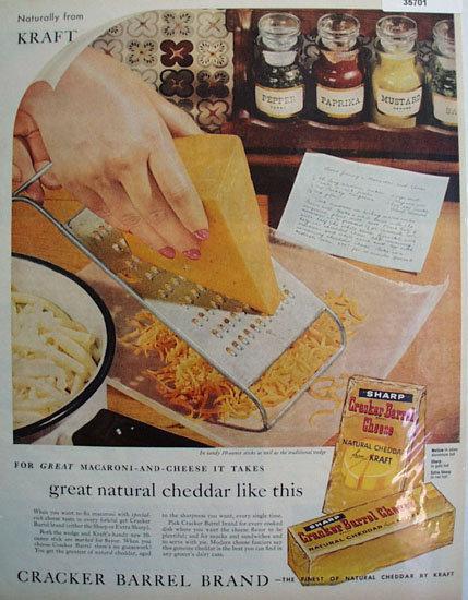 Kraft Cracker Barrel Cheese 1959 Ad