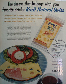Kraft Natural Swiss Cheese Sliced 1956 Ad