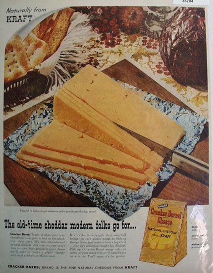 Kraft Sharp Cracker Barrel Cheese 1957 Ad